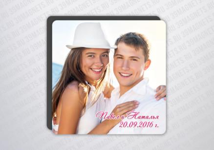 Виниловый свадебный фотомагнит 7.5*7.5 см.