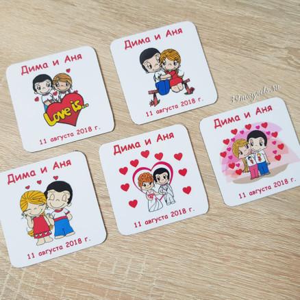 """Виниловые гибкие магниты на свадьбу для гостей """"Love is..."""""""