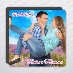 Виниловый свадебный фотомагнит 10*10 см.