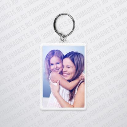 Пластиковый брелок с фото и надписью на заказ
