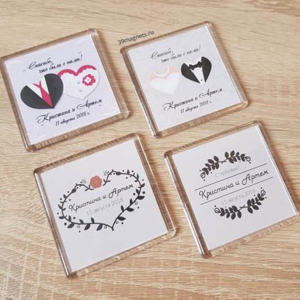 Пластиковые магниты на свадьбу на подарки гостям фото
