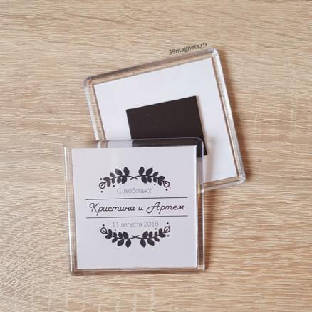 Акриловый магнит на свадьбу для гостей в стиле лофт