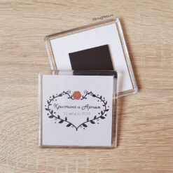 Пластиковый магнит на свадьбу для гостей в стиле лофт