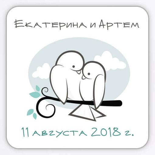 """Гибкий виниловый магнит на свадьбу """"Голуби"""""""