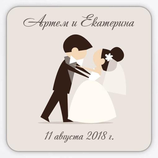 Гибкий плоский магнит свадебный с изображением танцующих жениха и невесты
