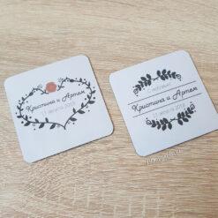 Плоские виниловые магнитики на свадьбу для гостей в стиле лофт
