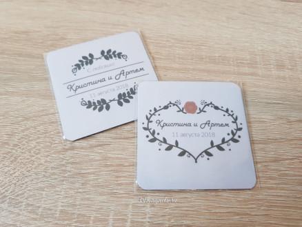Виниловый свадебный магнит для гостей с именами в стиле лофт