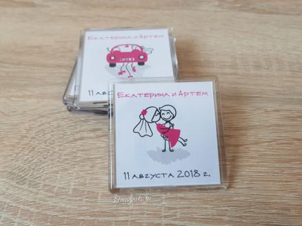 Акриловый пластиковый свадебный магнитик на подарки гостям с именами счастье