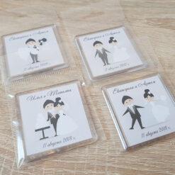Акриловые свадебные магниты на подарки гостям от молодых