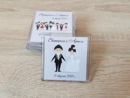 Акриловый свадебный магнит на подарки гостям