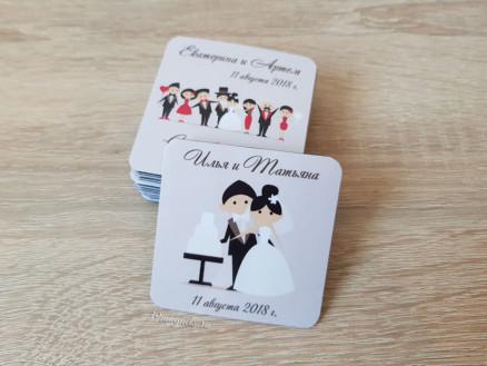 Мягкий виниловый свадебный магнит с датой и именами на подарки гостям