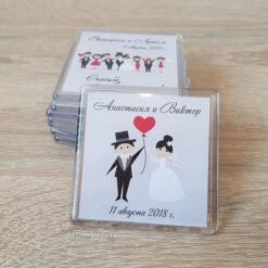 Акриловый свадебный магнит на подарки гостям от молодоженов