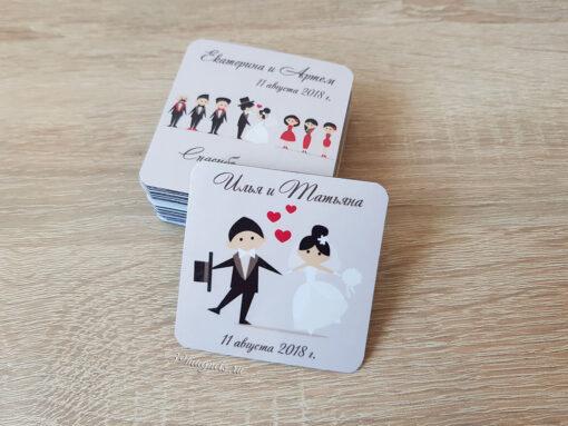 Виниловый свадебный магнитик с именами молодоженов на подарки