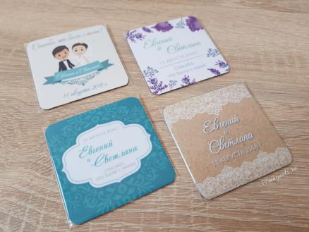 Виниловые свадебные магнитики с именами и датой бракосочетания