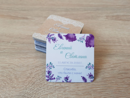 Виниловый свадебный магнитик в стиле прованс с именами