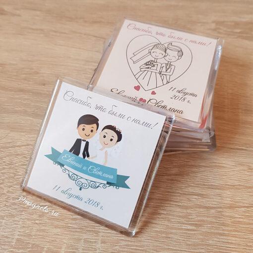 Акриловый (пластиковый) свадебный магнит на подарки гостям