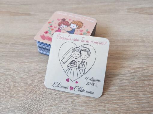 Виниловый свадебный магнит с именами молодоженов