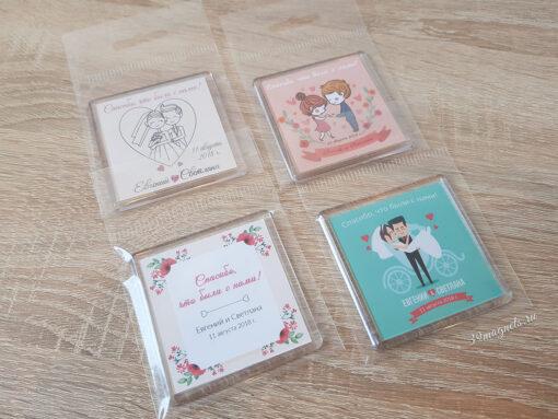 Акриловые пластиковые свадебные магниты на подарки от молодоженов