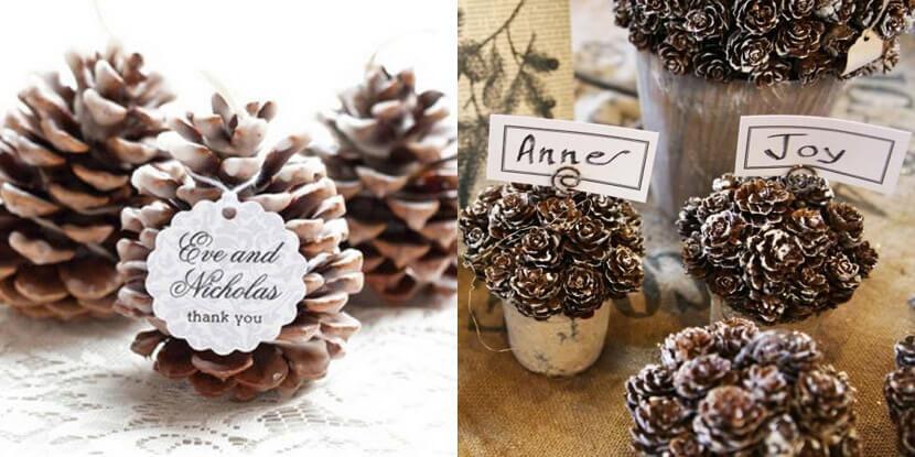 Подарки гостям на свадьбу: декоративные шишки