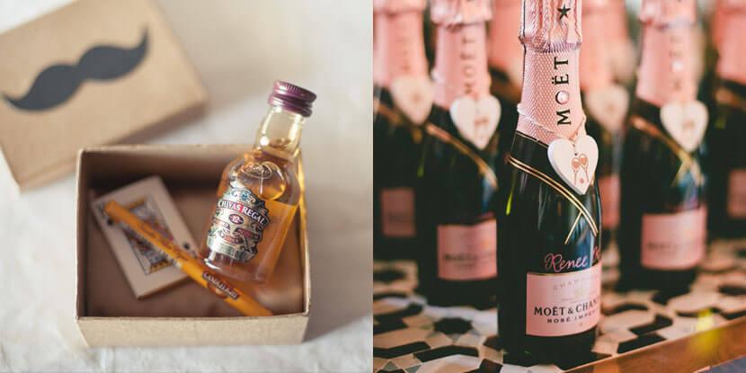 Подарки гостям на свадьбу: вино и шампанское
