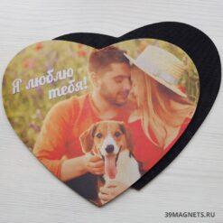 Печать на коврике для мыши в виде сердца