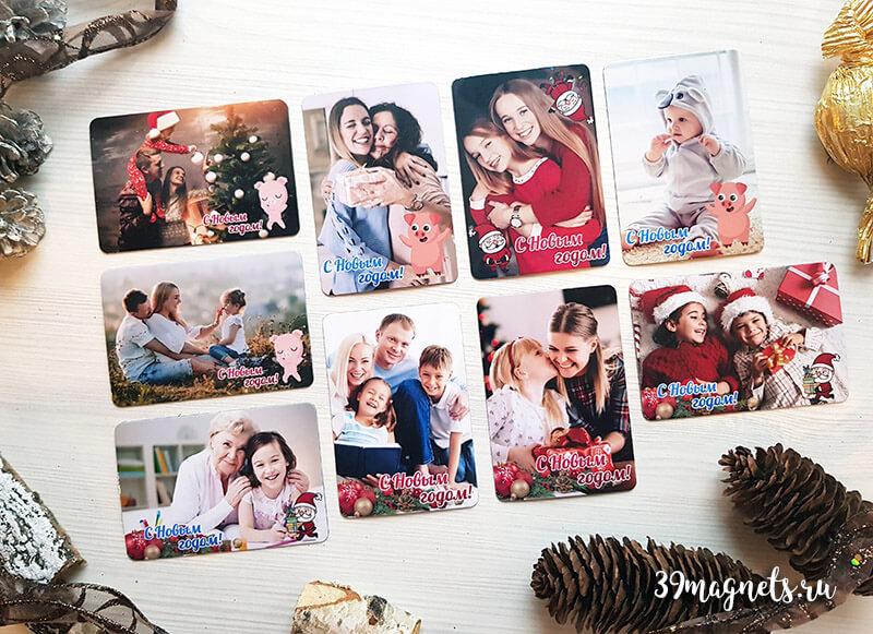 Виниловые магниты с фото на новогодние подарки