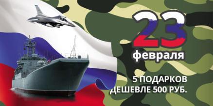 5 подарков на 23 февраля дешевле 500 руб.