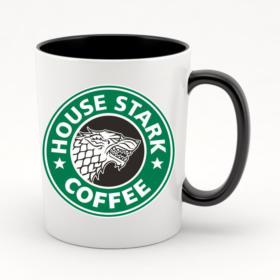 Кружка черная внутри с черной ручкой House Stark coffee