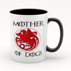 Кружка черная внутри Mother of dogs
