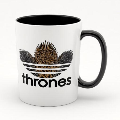 Кружка черная внутри и с черной ручкой Thrones
