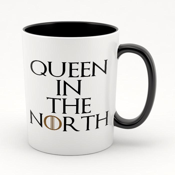 "Кружка черная внутри ""Queen in the North"""