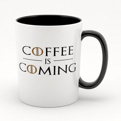 """Кружка черная внутри """"Coffee is coming"""""""