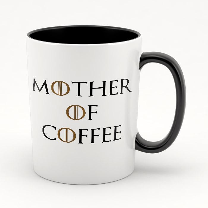 """Кружка черная внутри """"Mother of coffee"""""""