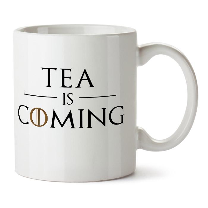 "Кружка белая ""Tea is coming"""