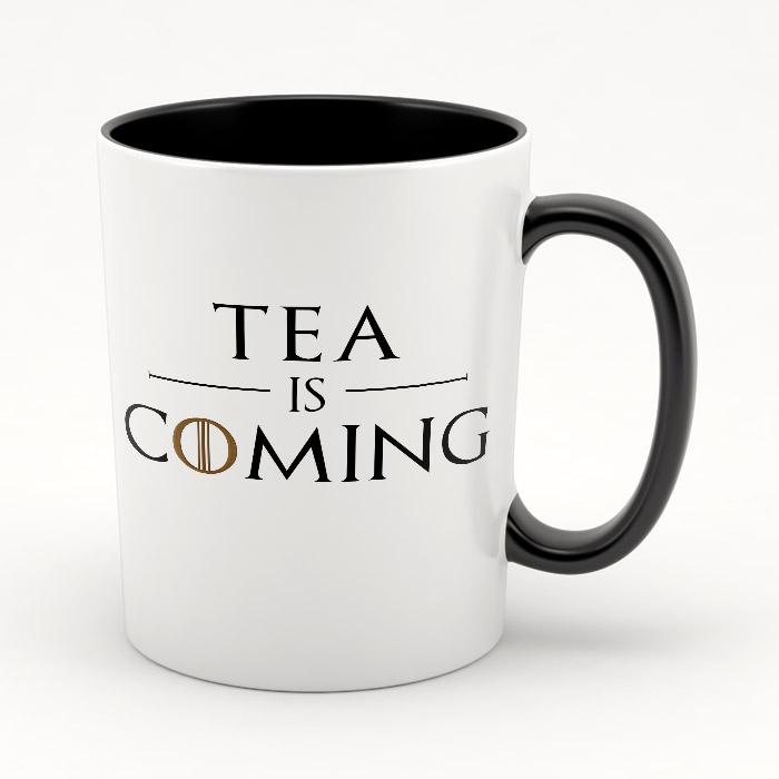 "Кружка черная внутри ""Tea is coming"""