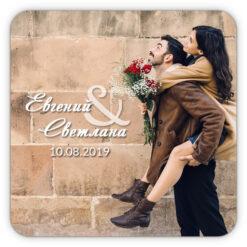 Свадебный магнит с фото и прописным шрифтом
