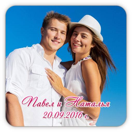 Свадебный магнит с фото и фигурным шрифтом