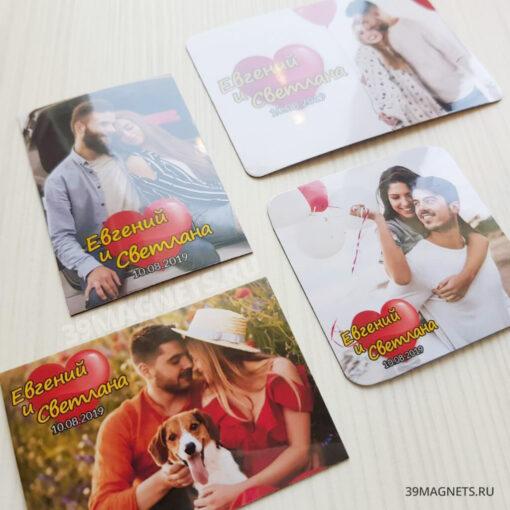 Свадебный магнит с фото и именами в стиле «Love is…»