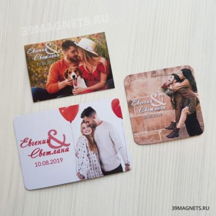 Свадебные магниты с фото и прописным шрифтом