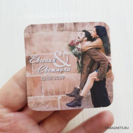 Свадебный магнит с фото, именами и прописным шрифтом