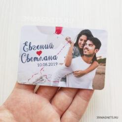 Свадебный магнит с фото, именами и сердечком