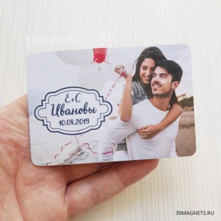 Свадебный магнит с фото, фамилией и инициалами