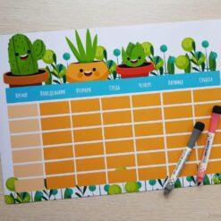 Детский магнитный планер «Вечный календарь», с кактусами